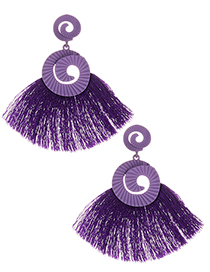 Fashion Purple Tassel Decorated Earrings