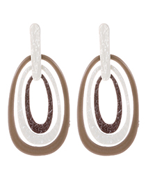 Fashion Coffee Round Shape Decorated Earrings