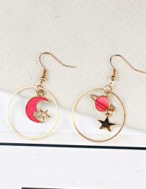Fashion Red Moon&star Shape Decorated Earrings