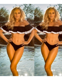 Fashion Black Pure Color Decorated Bikini