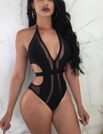 Sexy Black Pure Color Decorated Swimwear