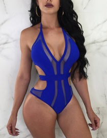 Fashion Sapphire Blue Pure Color Decorated Swimwear