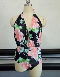 Fashion Pink+black Flower Pattern Decorated Swimwear