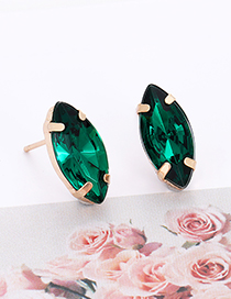 Fashion Dark Green Oval Shape Decorated Earrings