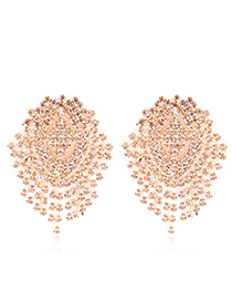 Simple Champagne Pure Color Decorated Earrings