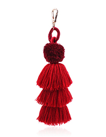 Fashion Red Tassel Decorated Key Chain