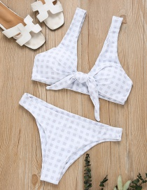Sexy White Grid Pattern Decorated Pure Color Bikini