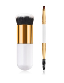 Fashion Gold Color+white Cylindrical Shape Design Eyebrow Brush(2pcs)