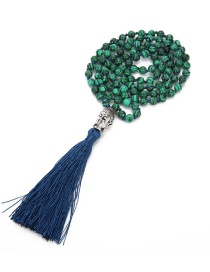 Fashion Green+navy Beads&buddha Decorated Tassel Necklace