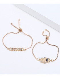Fashion Gold Color Palm&diamond Decorated Bracelet(2pcs)