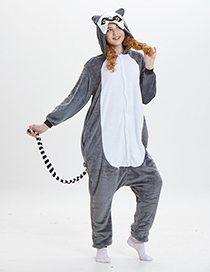 Lovely Gray+white Cartoon Monkey Shape Design Pajamas