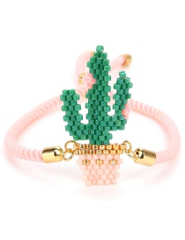 Fashion Green+pink Cactus Shape Decorated Hand-woven Bracelet