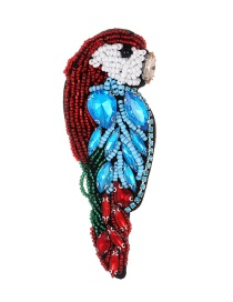 Fashion Red Beads&diamond Decorated Bird Shape Brooch