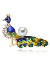 Fashion Multi-color Full Diamond&pearl Decorated Peacock Shape Brooch