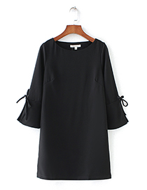 Fashion Black Pure Color Design Round Neckline Dress
