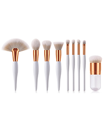 Trendy Gray+white Color Matching Design Cosmetic Brush(9pcs)
