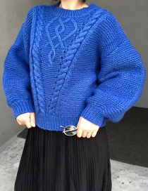 Fashion Blue Pure Color Decorated Sweater