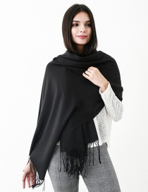 Fashion Black Pure Color Decorated Scarf