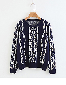 Fashion Navy Stripe Pattern Decorated Sweater