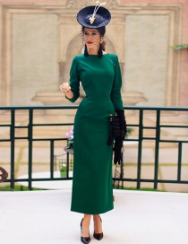 Fashion Green Pure Color Decorated Long Dress
