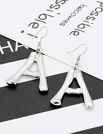 Fashion Silver Color Letter A Shape Decorated Earrings