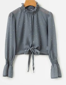 Fashion Gray Star Pattern Decorated Shirt