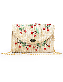 Fashion Khaki Cherry Pattern Decorated Bag