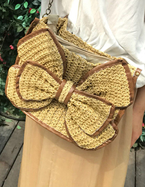 Fashion Khaki Bowknot Shape Decorated Bag
