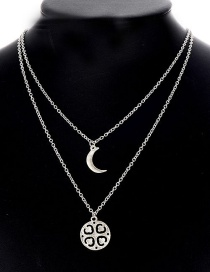 Fashion Silver Color Moon Shape Decorated Pure Color Necklace