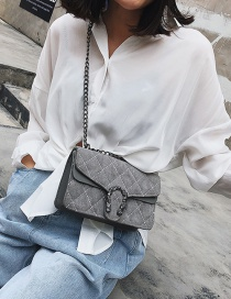 Fashion Gray Grids Pattern Decorated Bag