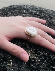 Fashion Gold Color Shell Shape Decorated Ring