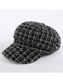 Fashion Black+white Grid Pattern Decorated Hat