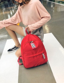 Simple Red Pure Color Decorated Backpack