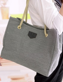Simple Gray Pure Color Decorated Handbag