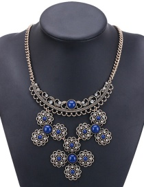Fashion Navy Hollow Out Flowers Decorated Necklace