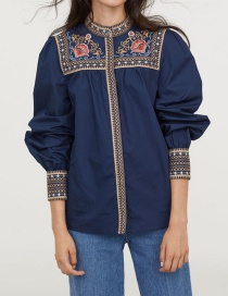 Fashion Navy Flower Pattern Decorated Shirt