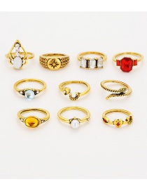 Fashion Gold Color Pearl&diamond Decorated Ring (10 Pcs )