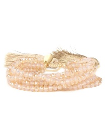 Fashion Beige Bead&tassel Decorated Bracelet