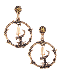 Fashion Gold Color Bird Shape Decorated Pure Color Earrings