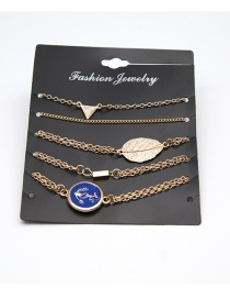 Fashion Gold Color Leaf Shape Decorated Bracelet ( 5 Pcs )