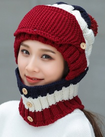Fashion Claret Red Pom Ball Decorated Pure Color Hat (3 Pcs )