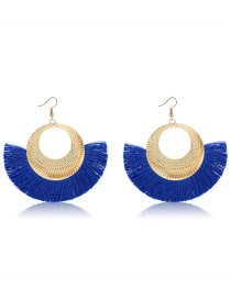 Fashion Sapphire Blue Sector Shape Decorated Earrings