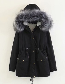 Fashion Black Fur Collar Decorated Coat