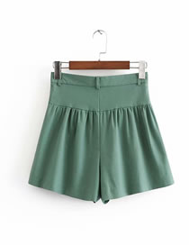 Fashion Green Pure Color Decorated Leisure Shorts