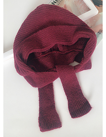 Lovely Claret Red Pure Color Decorated Warm Knitted Cap