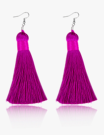 Elegant Dark Purple Pure Color Design Long Tasel Earrings
