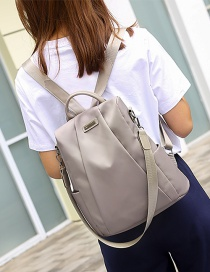 Fashion Khaki Pure Color Decorated Simple Backpack