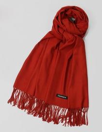 Fashion Dark Red Tassel Decorated Pure Color Scarf