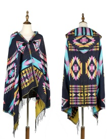 Fashion Navy Geometric Shape Pattern Design Thicken Scarf