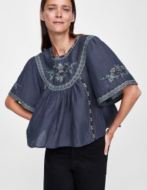 Fashion Navy Embroidered Flowers Decorated Round Neckline Smock